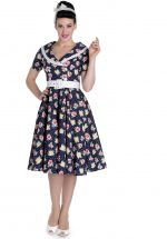 Hell Bunny Emma 50's Floral Swing Jurk Blauw